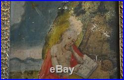Antique Retablo Painting Oil on Tin Saint Jerome Guatemala Folk Art 1800s