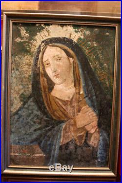 Antique Retablo Painting on tin 11 x 15
