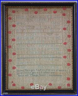 Antique Sampler, 1787 Religious Sampler by Mary Ann Shepherd