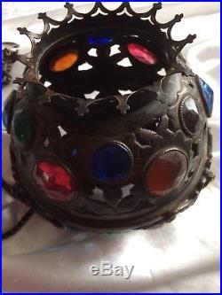 Antique Sanctuary Religious Orthodox Jewelled Brass Lamp