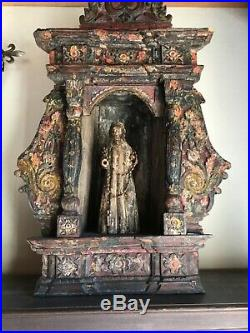 Antique Santos and Nicho hand carved wood religious state large