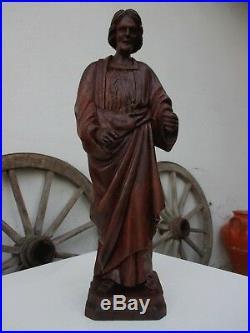 Antique Sculpture Christ Sacred Art Wood Carving Handmade Religious Statues
