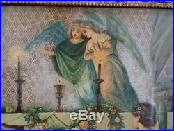 Antique Seiber Chromolithograph print JESUS CHRIST IN TOMB, Angels Cherubs