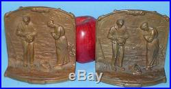 Antique Solid Bronze Figural Angelus Call To Prayer Religious Bookends