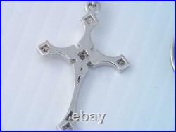 Antique Soloid 14k White Gold & Diamond Religious Cross Pendant