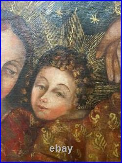 Antique Spanish Colonial Cuzco School Holy Family Religious Oil Canvas Painting