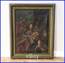 Antique Spanish Colonial Folk Art Painting Madonna & Child Retablo Canvas 18th C