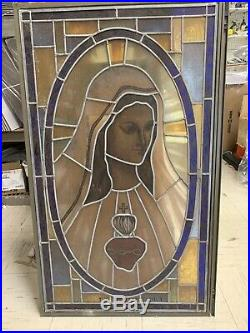 Antique Stained Glass Leaded Mother Mary Window Religious 24X40