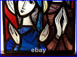 Antique Stained Glass Leaded Window Panel Decoration Holy Mary Religious