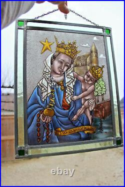 Antique Stained glass window Religious OLV sterre der zee MAdonna