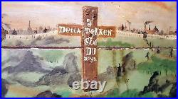 Antique Swedish Immigrant Trunk Scandinavian Religious Folk Art Painting Inside