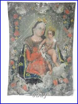 Antique Tin Mexican Religious Ex Voto Retablo Mexico Catholic Christian Folk Art