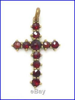 Antique Victorian Bohemian Rose Cut Garnet Gold Gilt Religious Cross Pendant