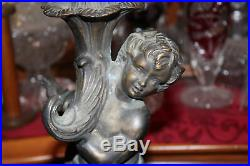 Antique Victorian Bronze Metal Figural Angel Cherub Lamp Base-#1-Religious-Heavy