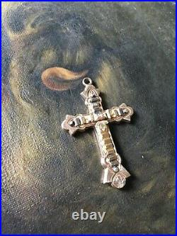 Antique Victorian Gold Filled Cross Pendant Seed Pearl Raised Detail Religious