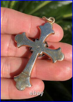 Antique Victorian Gold Filled GF Engraved & Seed Pearl Religious Cross Pendant