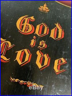 Antique Victorian Hand Painted Sign Wooden Shield God Is Love Religious Church