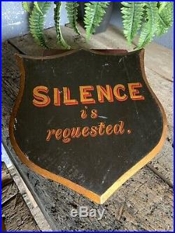 Antique Victorian Hand Painted Sign Wooden Shield Silence Religious Black Church