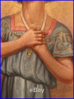 Antique Vintage Beautifully Executed Religious Saint Oil Canvas Large Painting