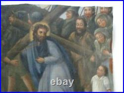 Antique Vintage Old Religious Icon Painting Fragment Religious Iconic Portrait