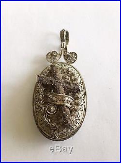 Antique Vintage Victorian Religious Silver Locket & Ear Rings In Original Box