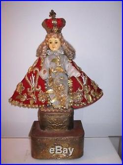 Antique Vtg. Religious Infant of Prague/Santo Nino Statue doll 16