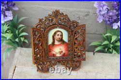 Antique Wood carved religious triptych porcelain jesus hand paint plaque