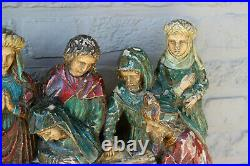 Antique XL 1800s Flemish wood carved gothic religious statue jesus group