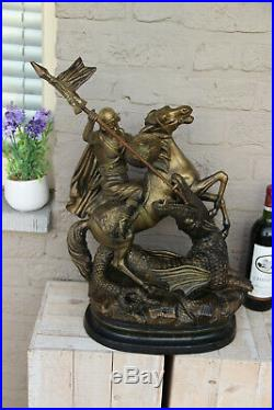 Antique XL French Group Terracotta Saint George Dragon Statue religious