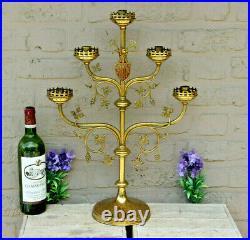 Antique XL neo gothic church altar candelabra candle holder religious brass