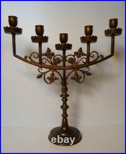 Antique church altar religious candelabra candle holder bronze 5 arms