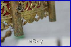 Antique church religious altar chandelier lamp neo gothic 19thc fleur de lys