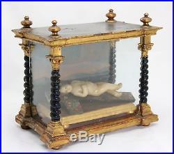 Antique early 18th C. Religious Shrine, wax Holy Child Jesus, glass wood vitrine