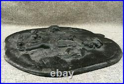 Antique french cast iron low relief sculpture early 1900's angels religious 7lb