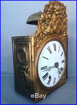 Antique french comtoise clock mechanism brass religious decor 19th century angel