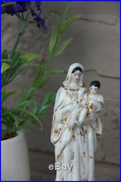 Antique french vieux paris porcelain madonna figurine statue religious