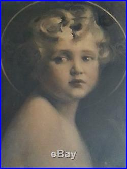 Antique gravure etching Light of the World Angel 19.5×23.5 inches, 1800's