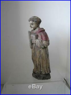 Antique hand carved Wood Religious Statue of Saint Francis 13 Authentic