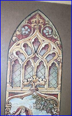 Antique original religious preliminary church stained glass painting diagram art