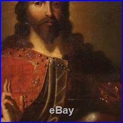 Antique painting religious framework oil on canvas Christ Salvator Mundi 700