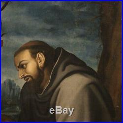 Antique painting religious framework oil on canvas Saint Francis 18th century