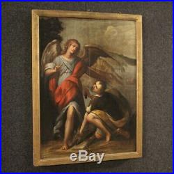 Antique painting religious framework oil on panel Tobias and the Angel 600