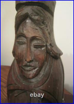 Antique pop folk art handmade carved wood religious icon wine bottle holder case