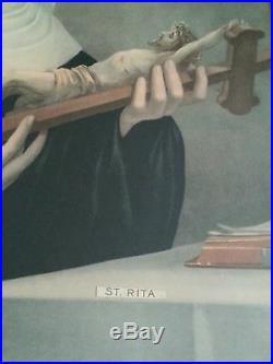 Antique print St. Rita 19.5×23.5 inches, 1800's