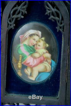 Antique religious black forest wood carved gothic porcelain madonna medaillon