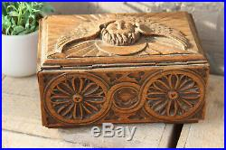 Antique religious church wood carved neo gothic religious putti angel Box