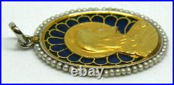 Antique religious medal in 18K gold with Plique A Jour enamel and Sea Pearl