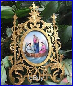 Antique religious painting French Limoges 1800s Lovely Brass Frame Mary Jesus