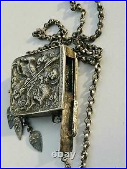 Antique religious silver box. Amulet. Muska. Reliquary. St. George