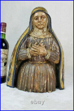 Antique top religious antique 18thc Wood carved polychrome madonna statue